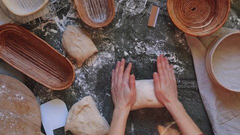 Time-lapse of a artisan baker preparing organic sourdough bread.