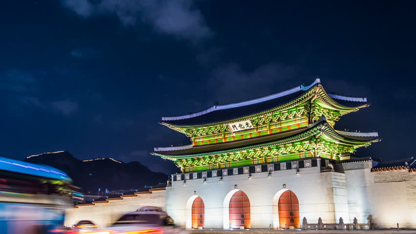 Time lapse of Gyeongbokgung palace and traffic at night in Seoul,South korea. | Shutterstock HD Video #14810374