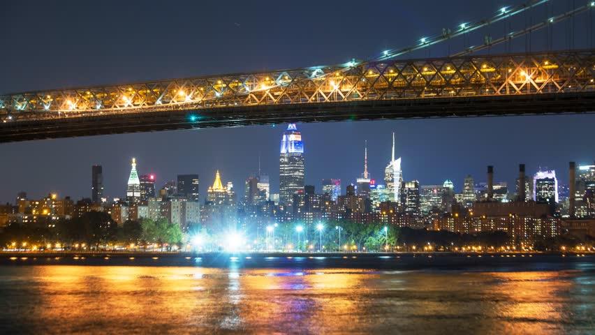 New York Manhattan bridge Quay view Timelapse Night | Shutterstock HD Video #14834806