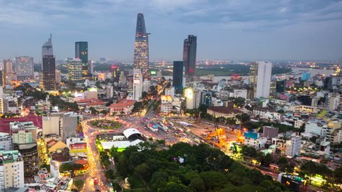 Timelapse view over Ho Chi Minh City transitioning between day and night