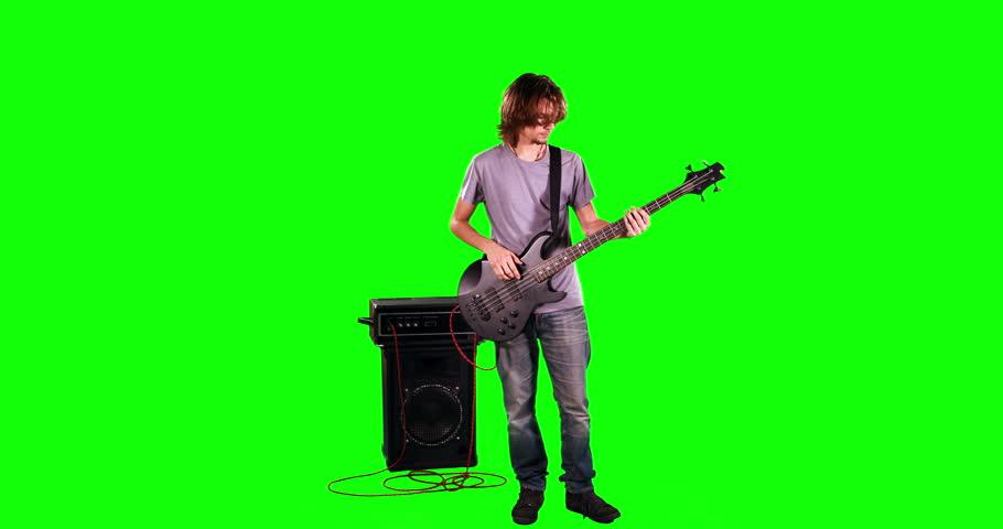 Man playing bass on green screen | Shutterstock HD Video #14868406