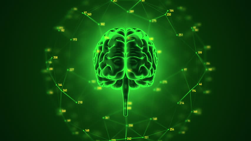 Abstract background with animation of rotation Human brain with net of data from numbers around. Backdrop of science or social technology. Animation of seamless loop. | Shutterstock HD Video #14884906