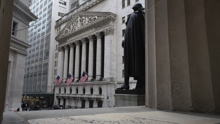 A dolly shot of New York's iconic Wall Street.