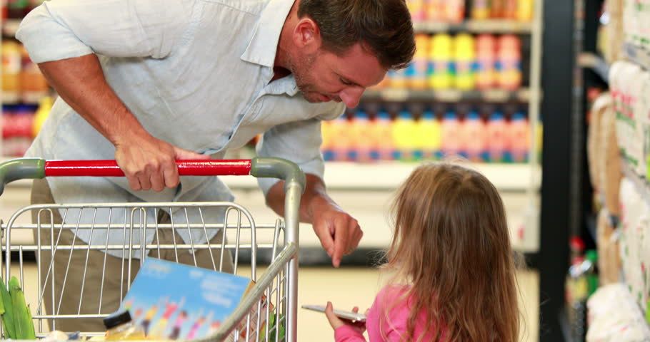 Father and daughter shopping in supermarket in high quality 4k format | Shutterstock HD Video #14949271