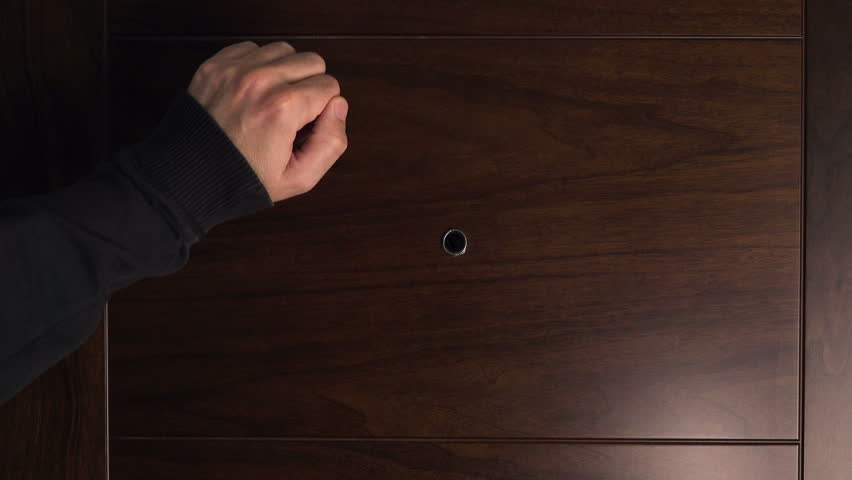 Male hand knocking at wooden door visitor or guest at the door. & Knocking On Door Stock Footage Video | Shutterstock