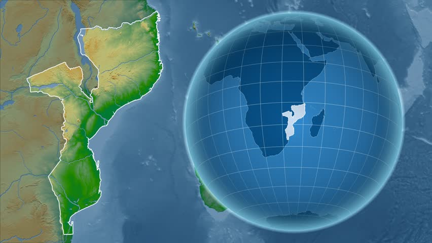 Mozambique shape animated on the admin map of the globe stock mozambique shape animated on the physical map of the globe 4k stock video clip sciox Choice Image
