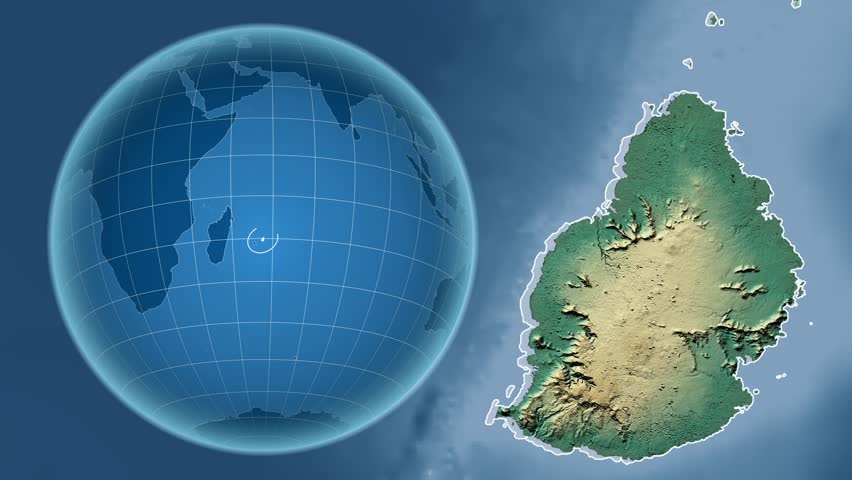 Relief Map Of The World.Mauritius Shape Animated On The Stock Footage Video 100 Royalty