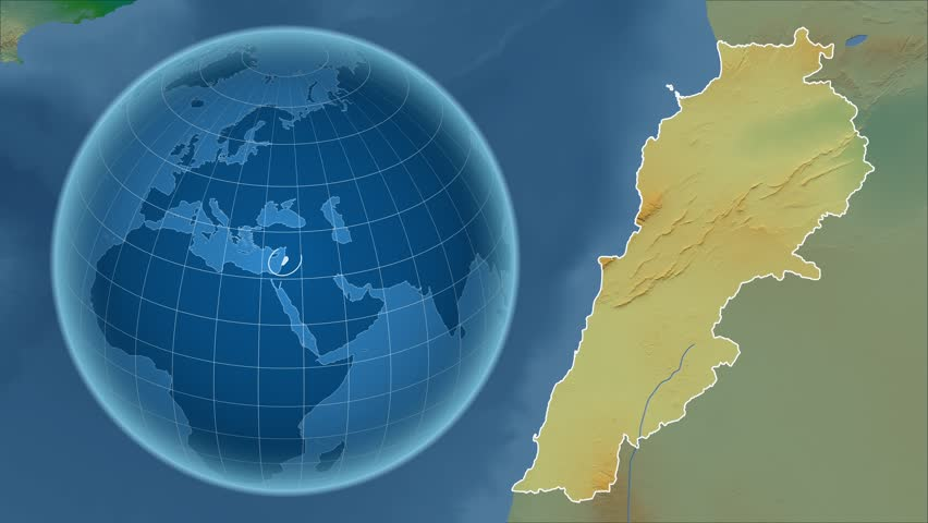 Lebanon Shape Animated On The Relief Map Of The Globe Stock Footage