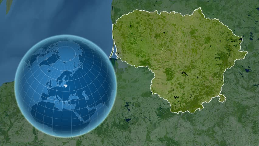 Denmark Shape Animated On The Physical Map Of The Globe Stock