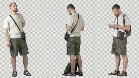Young tourist in khaki shorts. Three clips in one. Footage with alpha channel. File format - mov. Codeck - PNG+Alpha
