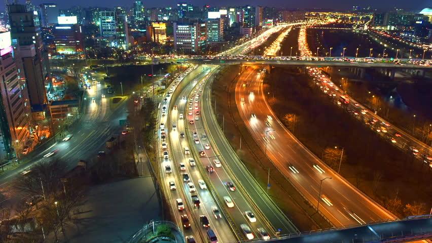 Beautiful time lapse of traffic in Seoul Korea.   Shutterstock HD Video #14980426