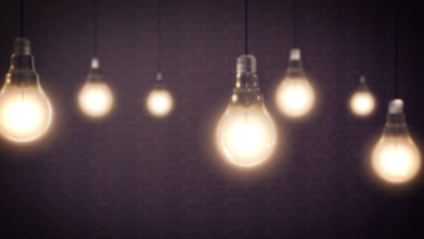 Light Bulbs Animation on a black background - 4K stock footage clip
