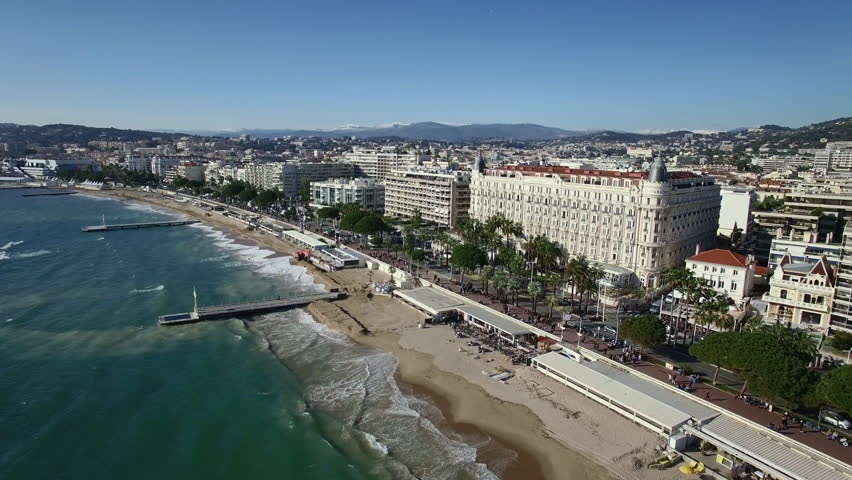 France, Cannes, Aerial view of the croisette, 4K UHDV movie (3840X2160) #15046216