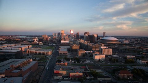 Hyper lapse from a drone of New Orleans skyline