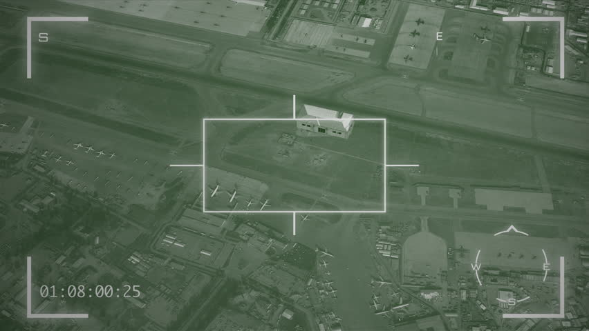 Military Surveillance Screen 4k Ultra High Definition - Rotating around a compound