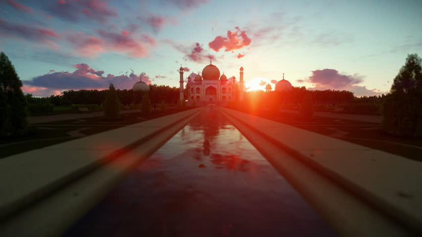 Taj Mahal beautiful sunrise, camera fly