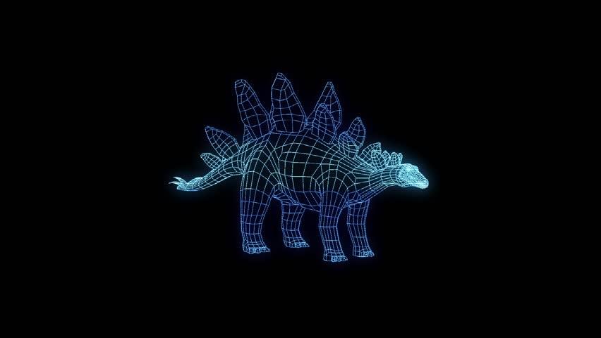 Dinosaur Stegadon Hologram Wireframe Animation 30 FPS