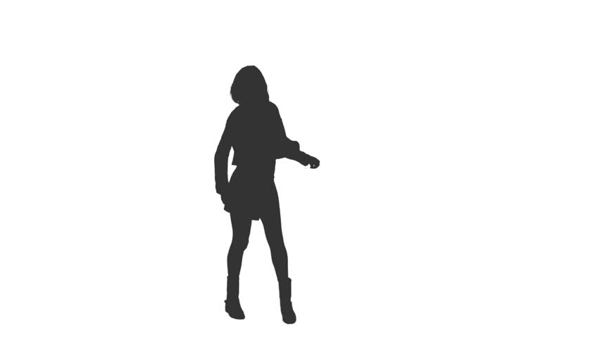 Silhouette of dancing girl, Full HD footage with alpha channel