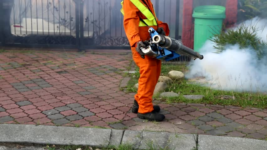 Worker Fogging Residential Area with Stock Footage Video (100 ...