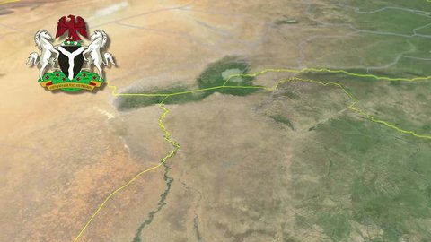 Borno with Coat of arms animation map States of Nigeria