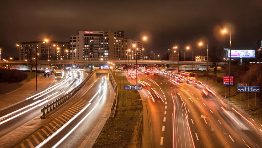 Traffic Time Lapse. European capitol night traffic.4k footage. | Shutterstock HD Video #15123016