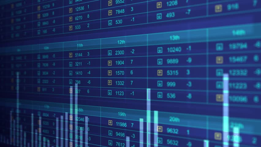 Electronic chart with stock market fluctuations, oil prices falling, rising, GDP. Electronic chart showing stock market fluctuations    Shutterstock HD Video #15148591