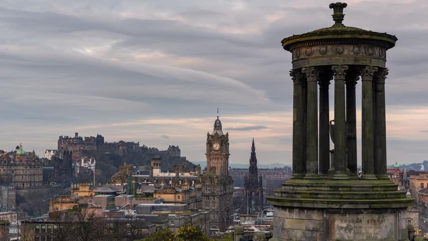Timelapse Overlooking Dugald Stewart Monument in Edinburgh