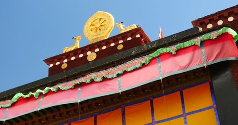 4k closeup of The Jokhang Temple In Lhasa,Tibet,white clouds in blue sky. gh2_09663_4k