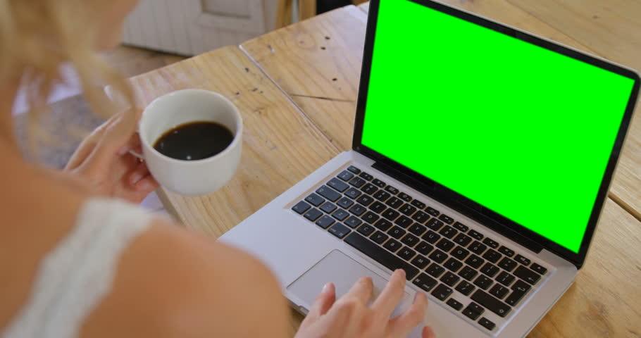 Cute blonde using laptop in kitchen in slow motion | Shutterstock HD Video #15202909