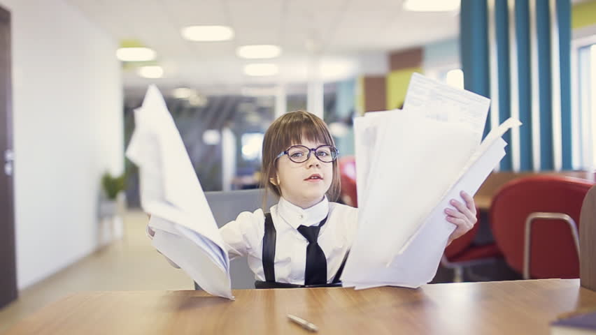 Office Kid Throw Paper In Air. Slow Motion   HD Stock Footage Clip