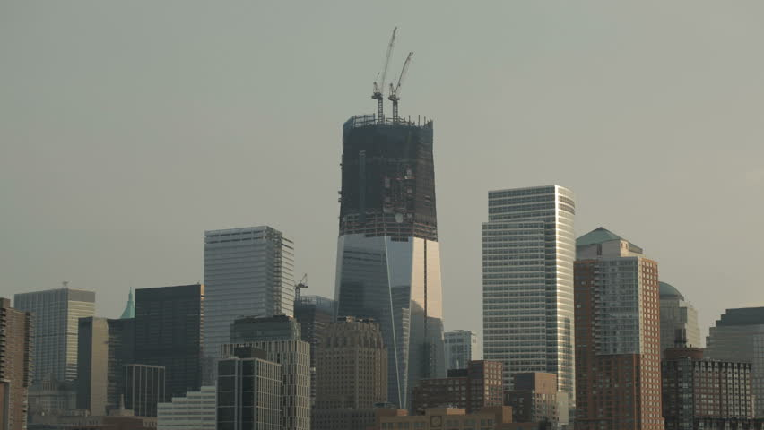 Time-lapse cranes moving steel girders etc during construction at One World Trade center site in lower Manhattan NYC.Taken October 24th 2011. | Shutterstock HD Video #1524866