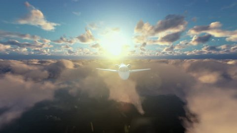 Cessna airplane flying above clouds at sunrise
