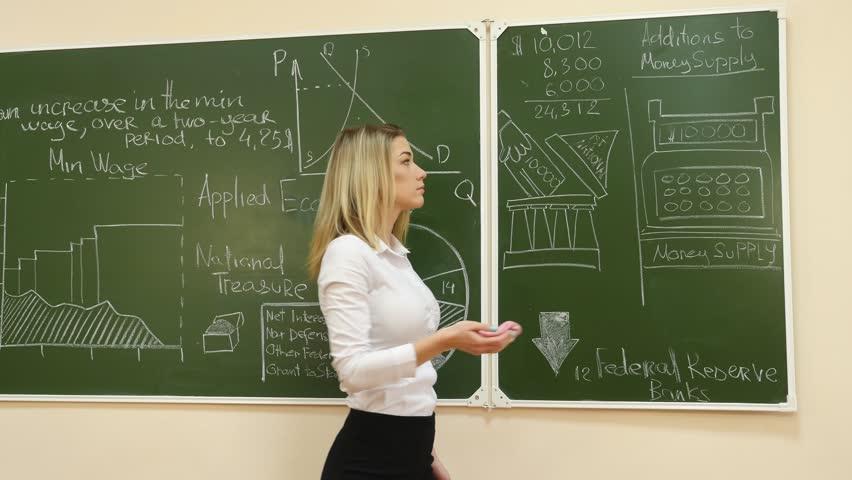 Teacher Writing Mathematics On Board At The Elementary -9619