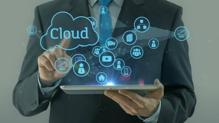 Business man pointing on cloud data social network media concept tablet pad computing businessman computer | Shutterstock HD Video #15282241