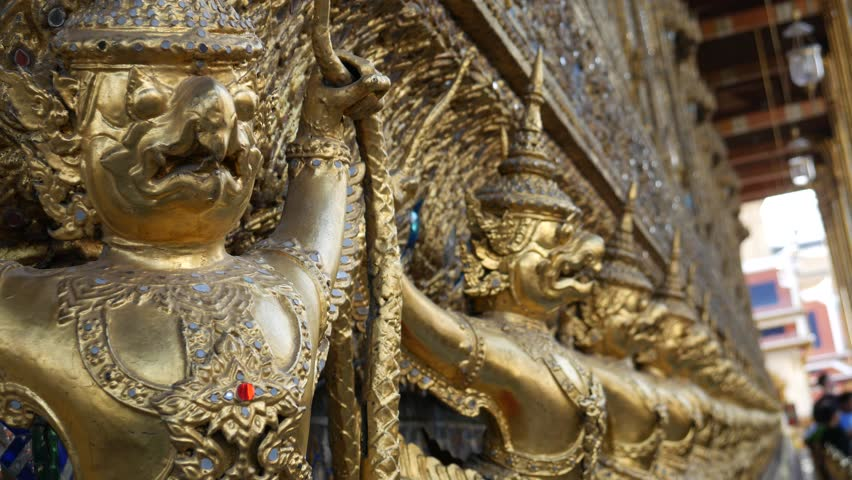 Garuda is decorated in Wat Phra Kaew (Temple of the Emeral Buddha), Bangkok. Garuda is mythical large bird-like creature found in Hinduism and Buddhism