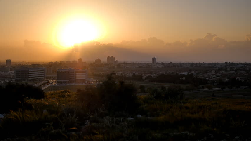 city landscape on the background of sunset