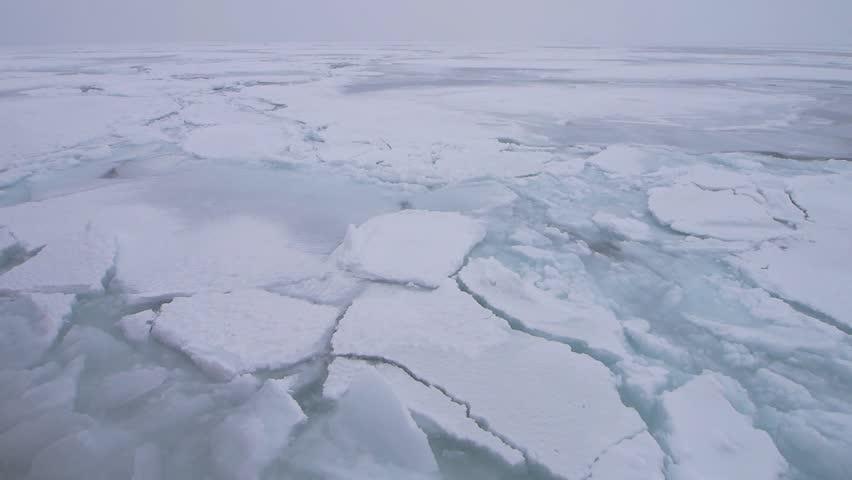 Drift Ice of Okhotsk Sea in Hokkaido, Japan. Drift ice is symbolic of winter in Abashiri and the Okhotsk region.