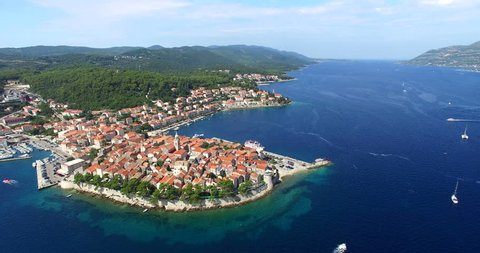 Aerial view of historic city of Korcula on the protected east coast of the island of Korcula in the Adriatic, Croatia