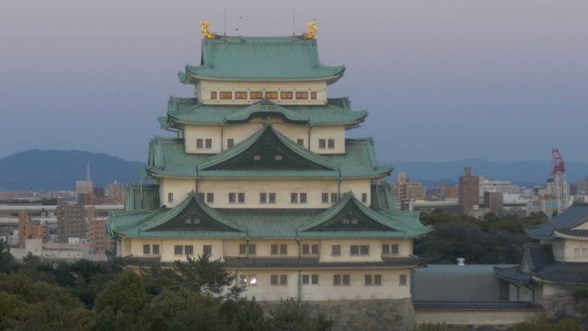 Zoom out shot from Nagoya Castle in twilight skies.