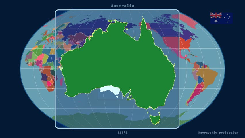 Zoomedin View Of A Australia Outline With Perspective Lines Against
