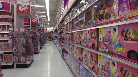 POINTE-CLAIRE, CANADA - MARCH 2016: Girls Barbie Toys - Smooth Steadicam