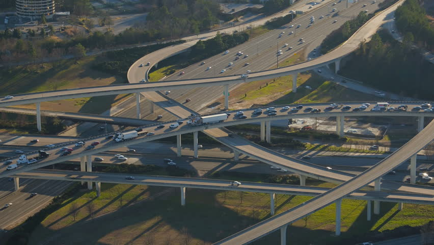 Atlanta Aerial v206 Flying low over Spaghetti Junction freeways panning down.