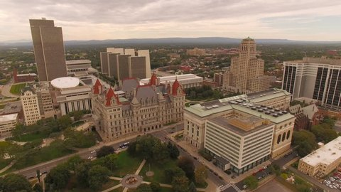 Albany Aerial v11 Flying over downtown State Capital buildings panning down.