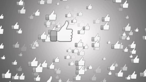 "SAN FRANCISCO, USA - April 1, 2016: ""Facebook Like Button"" From Bright White Surface. Facebook is The Most Popular Online Social Networking Service in the World. Editorial Animation."