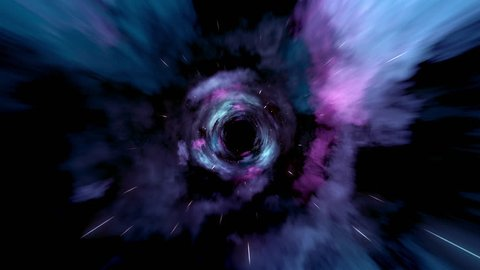 Wormhole straight through time and space, and millions of stars.