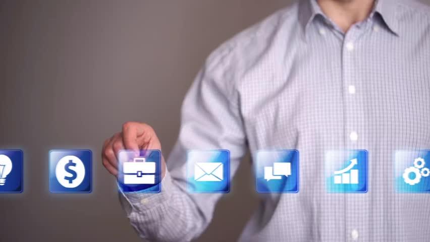Businessman touch idea icon   Shutterstock HD Video #15493546