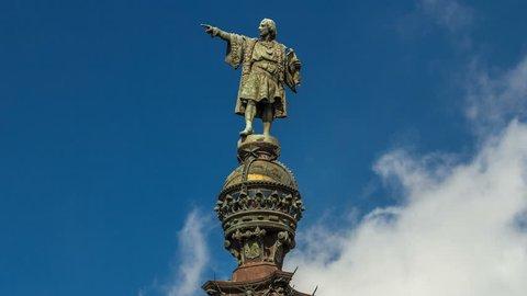 Top of the Columbus Monument timelapse hyperlapse Mirador de Colom in Barcelona, Catalonia, Spain.