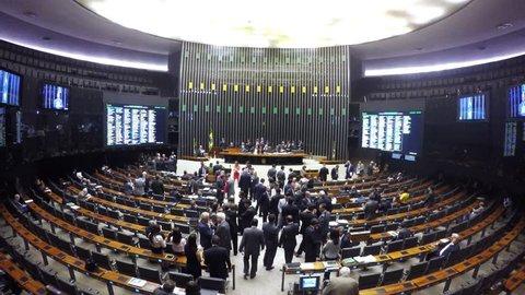BRASILIA, BRAZIL. CIRCA FEBRUARY, 2016. Front view of the Plenary Chamber of Deputies (Chamber Floor), in Brasilia, capital of Brazil.