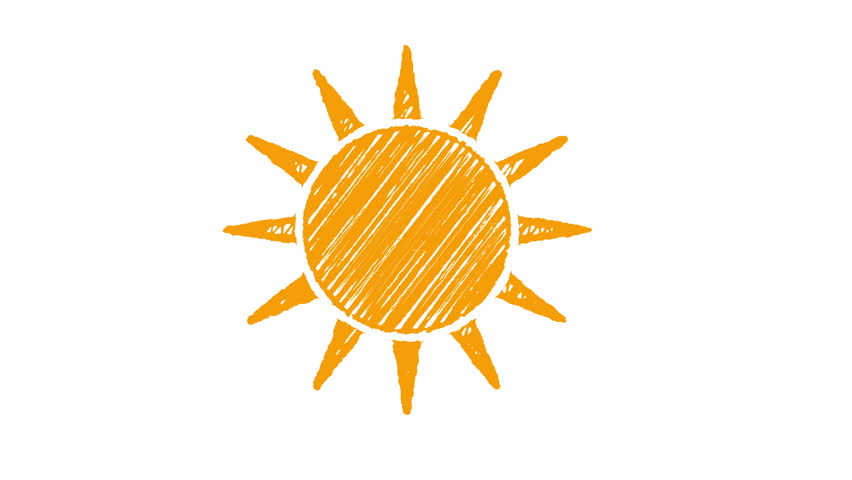 icon sun painted with chalk isolated on white background, hand drawn animation 4K