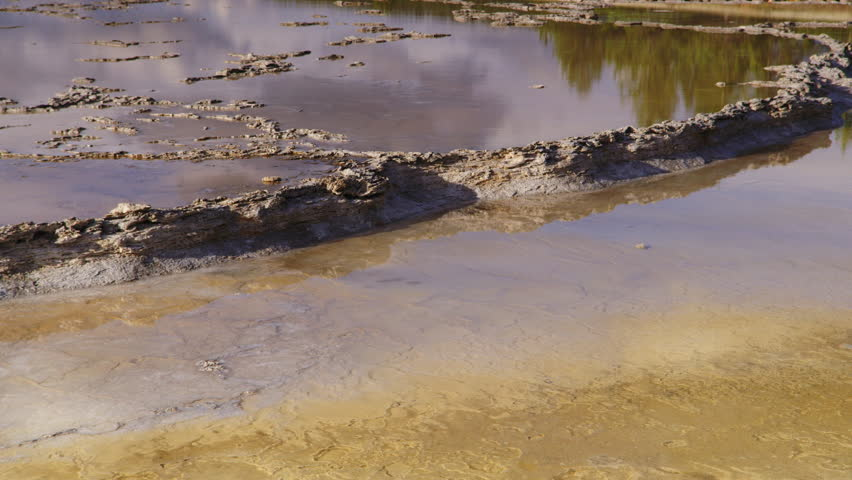 Mammoth Hot Springs colorful formations.  Yellowstone National Park, Wyoming and Montana, USA. 4K.